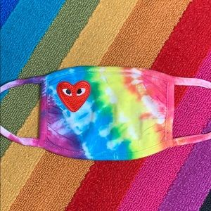 Tie-dye mask with embroidered heart